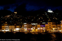 Syros port at night.