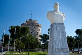 Admiral Votsis Statue and White Tower of Thessaloniki