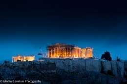 A stormy night over the Acropolis of Athens, Greece.