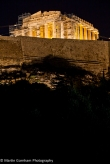 The Acropolis of Athens at night in Greece.