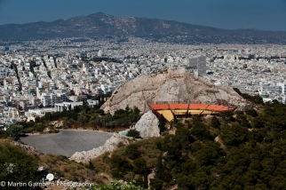 The city skyline of Athens in Greece.