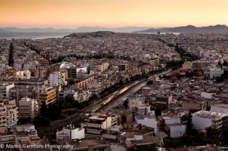 The Athens sunset Skyline in Athens, Greece.