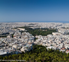 The skyline of the city of Athens in Greece.