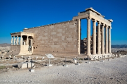 The Erechtheion ancient Greek temple on the north side of the Acropolis of Athens in Greece.