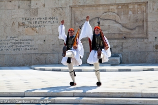 Two Evzones guarding the Hellenic Parliament in Athens, Greece.