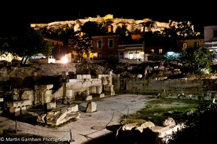 Hadrian's Library and Monastiraki square at night in Athens, Greece.