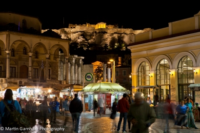 Hadrian's Library and Monastiraki square at night in Athens, Greece.