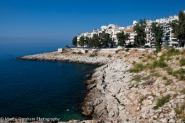 The coastline of Piraiki in Piraeus, Greece.