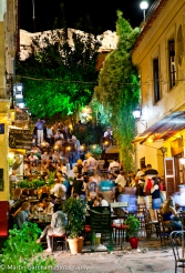 Plaka Street Cafe at night in Athens, Greece.