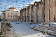 Hadrain's Library and the Roman Agora in Athens, Greece.