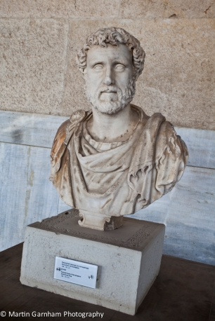 The bust of Emperor Antoninus Plus in the Stoa of Attalos in the Ancient Agora of Athens in the city of Athens, Greece.