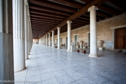 The Stoa of Attalos in the Ancient Agora of Athens in the city of Athens, Greece.